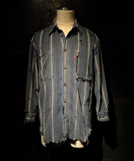 Damage vintage stripe shirt