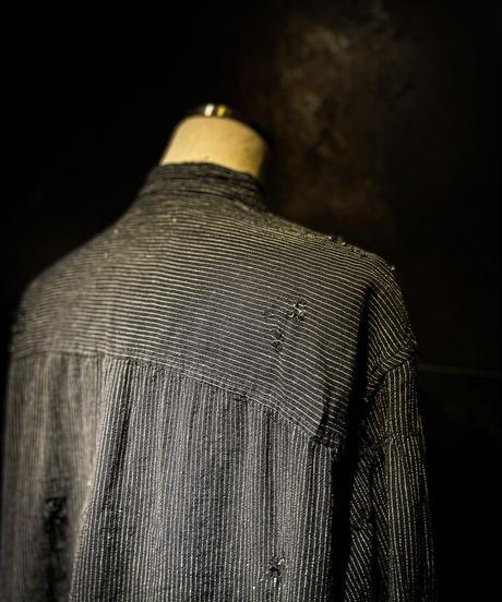 Vintage damage stripe no collar shirt