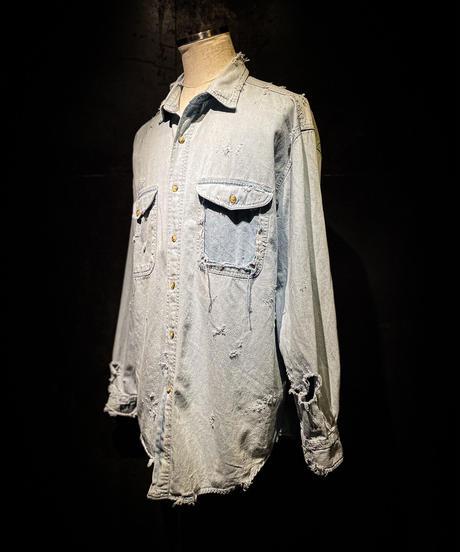 Vintage damage denim shirt #4
