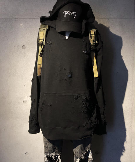 Hard damage  black hoodie