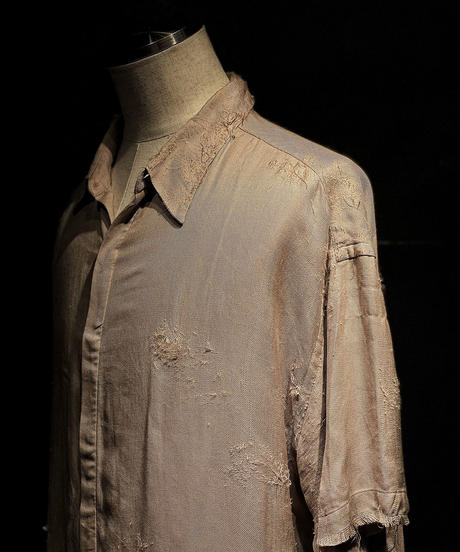 Vintage damage half silk shirt