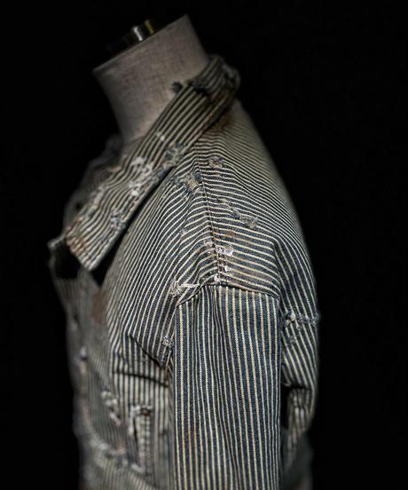 Vintage damage stripe denim jacket