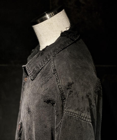 Vintage damage denim shirt #7