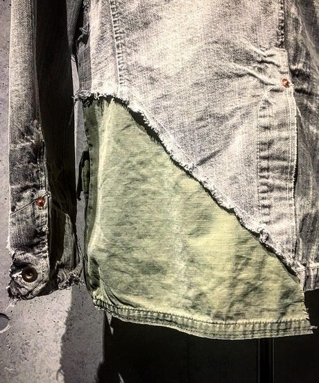 Different fabrics Sewn Denim coverall Jacket
