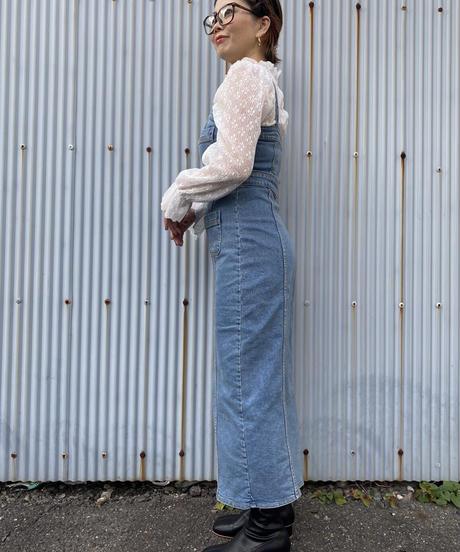 ☆即納☆denim jumper long skirt