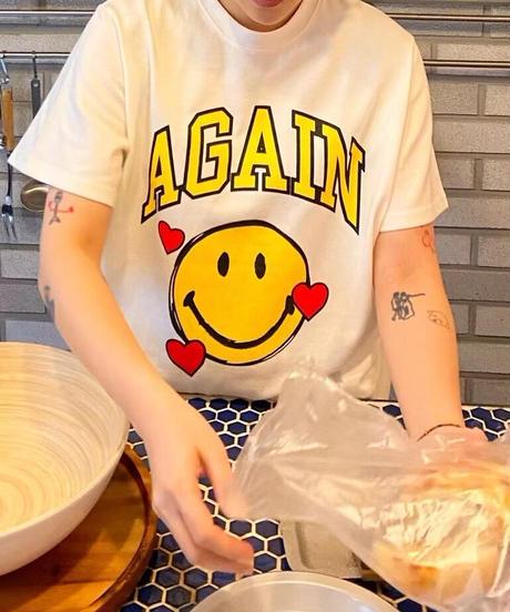 smile again tee/ホワイト:ピンク:ベージュ