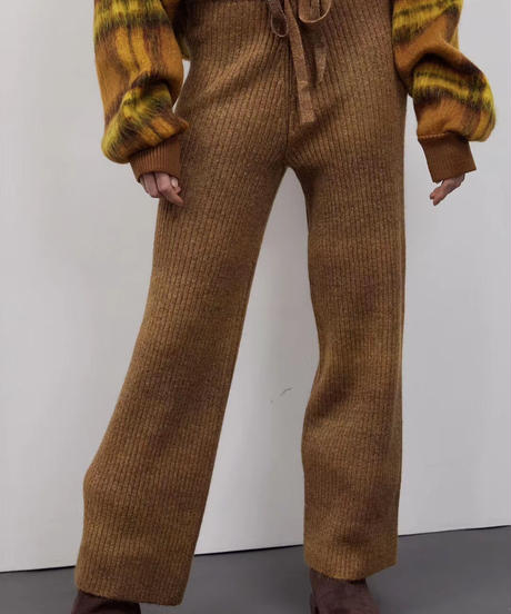 gradation knit  pants/ブラック・ブラウン