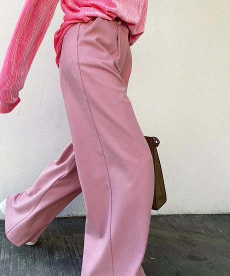 tuck wide pants/ピンク