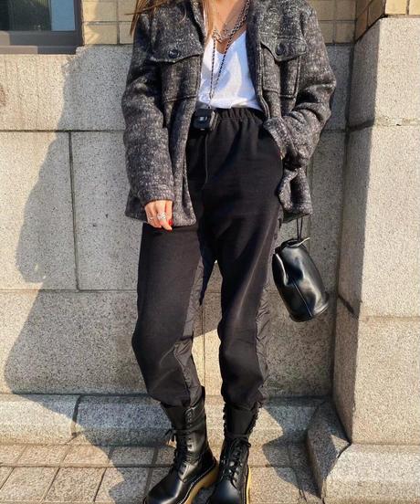 cotton&nylon jog  pants/ブラック×ブラック