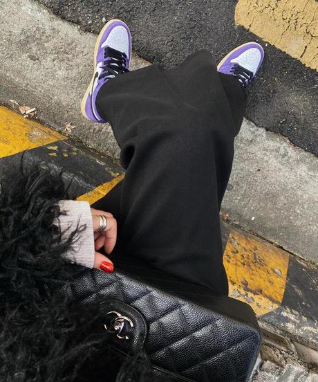 tuck  wide  pants/ブラック