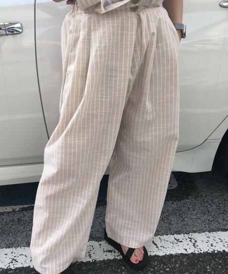 リネンstripe pants ▫️beige▫️