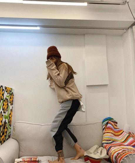 cotton&nylon jog  pants/グレー×ブラック