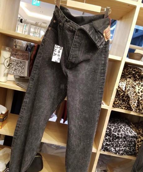 waist mark Black denim/free size