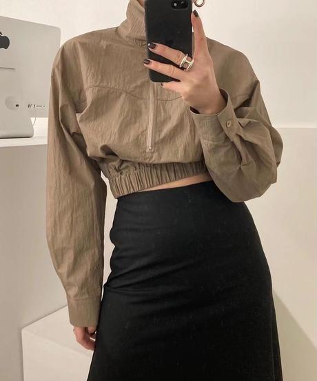 neck zip croped  shirt/3 color