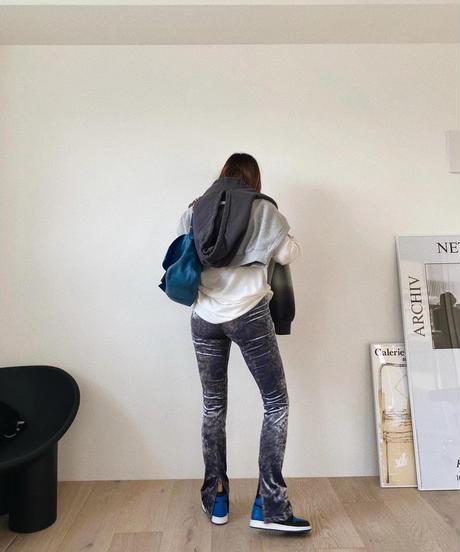 velours  slit  leggings pants