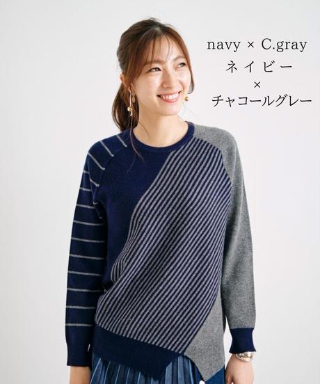 配色裾変形ラウンドクルーネックニット / 062426