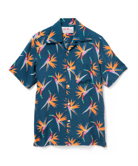 "ALOHA BLOSSOM     ""BIRDS OF PARADISE ""  NAVY"