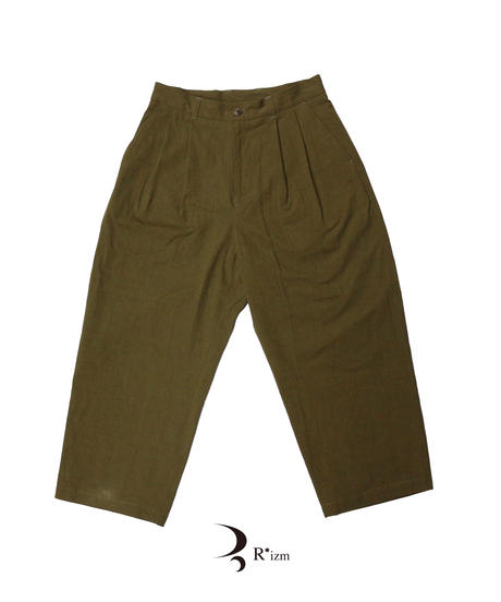 "roundabout  "" Cotton × Hemp 2tuck Pants ""  OLIVE"