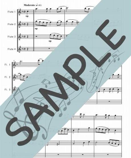 SJ-FQ012-01 見上げてごらん夜の星を/いずみたく:フルート四重奏(4 Flutes)