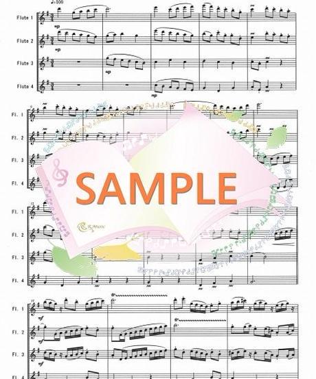 FQ008 春色のメヌエット(原曲はバッハのメヌエット):フルート四重奏(4Flutes)