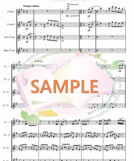 FQG014 ひこうき雲「風立ちぬ」より/荒井由実:フルート四重奏(2Flutes,Alto-Flute,Bass-Flute)