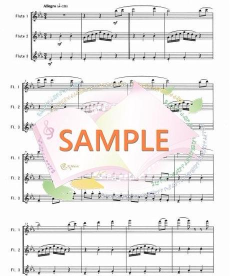 FT023 虹のワルツ1~3楽章/井関るみ:フルート三重奏(3Flutes)