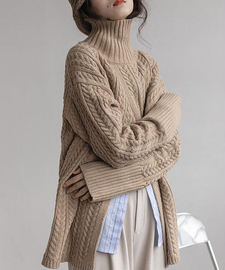 【New color 追加!】3color : Center Slit Highneck Cable Knit 90152 送料無料