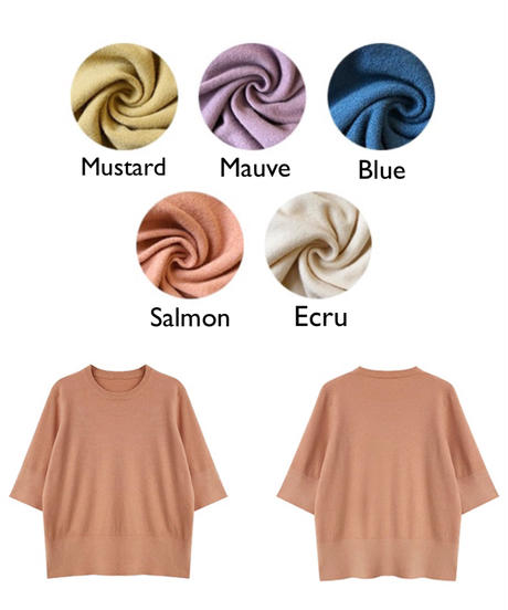 5color : Half sleeve Knit Tops 173 送料無料