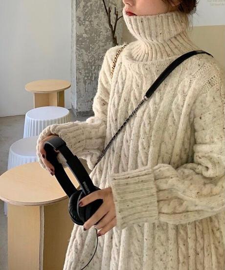 Mix yarn Turtleneck Cable Knit 90265 送料無料