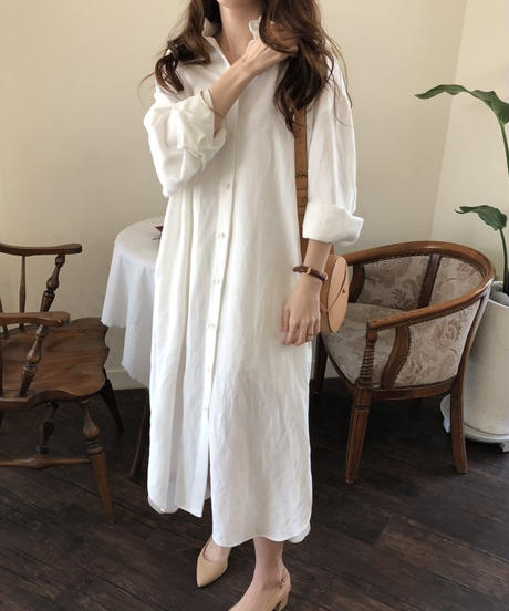 2color:Cotton Linen Long Shirts Onepieace  送料無料