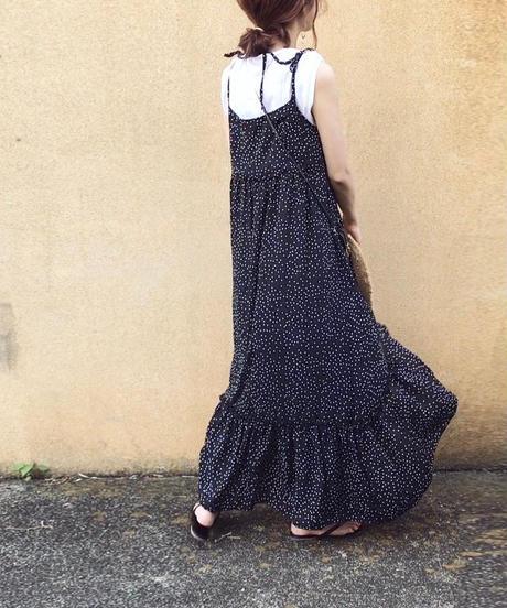 【即納】2color:Dot Tailcut Long Dress     送料無料