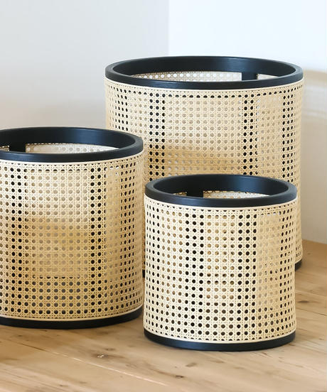 Rattan  pot cover _鉄媒染_size M
