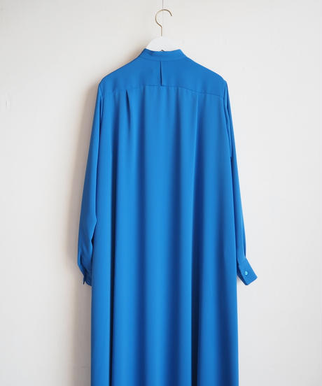 "Graphpaper ""Satin Band Collar Flare Dress"" Blue"