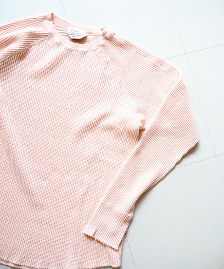 """UNUSED """"US1469 long-sleeve waffle t-shirt"""" pink unisex"""