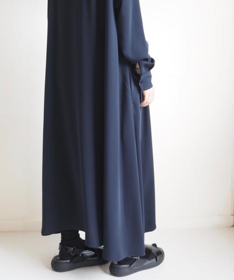 "Graphpaper ""Satin Band Collar Flare Dress"" Navy"