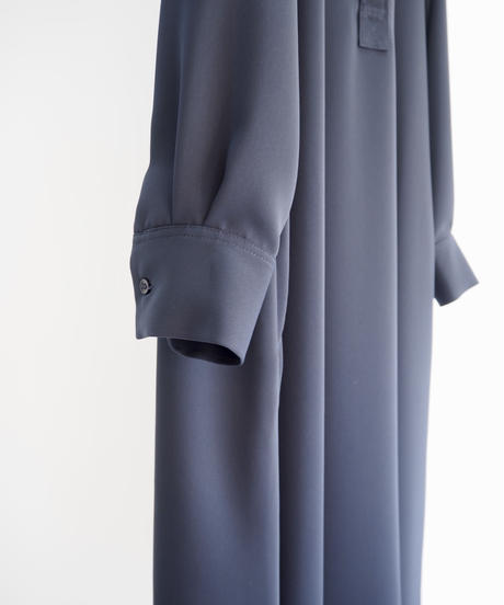 "Graphpaper ""Satin Band Collar Flare Dress"" navy"