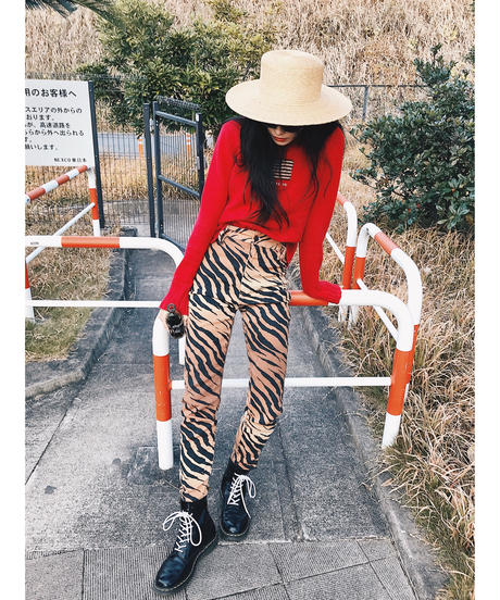Vintage high waist zebra pants
