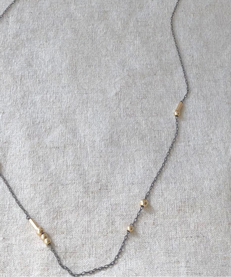 cinq / Roma long necklace / 14 k gold  beads / oxidized silver necklace