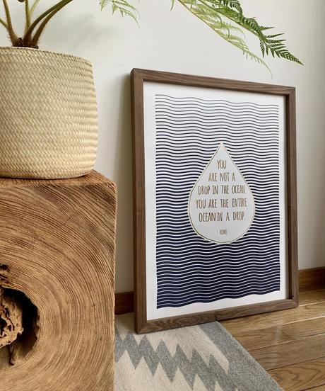 """■ HOLSTEE ■  """"Ocean in a drop""""  Letterpress Poster 18 x 24 inch"""