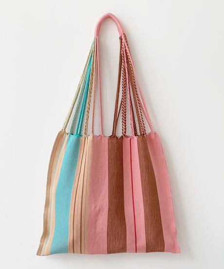 pips / cotton handwoven hammock bag / pink asymmetry