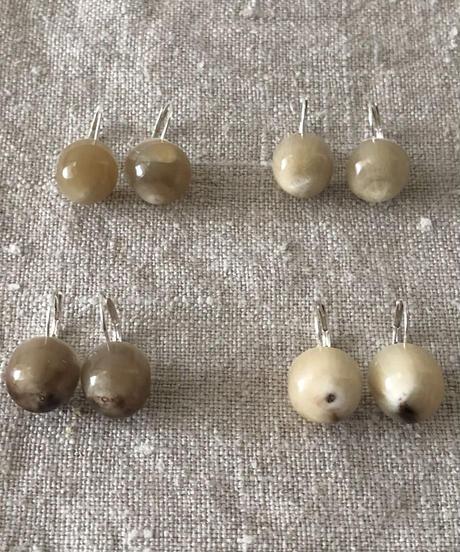 Kostkamm / Horn earring  halfround / silver / コストカム / 水牛ピアス