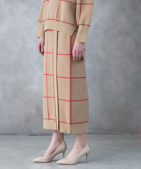 [19AW] WINDOWPANE CHECK KNIT SKIRT