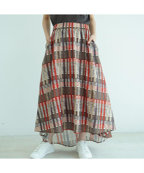 [20SS] SKETCH CHECK GATHER SKIRT