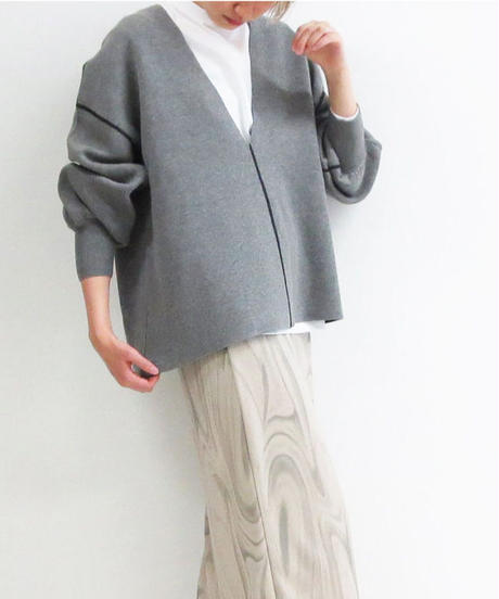 [21AW] SWEAT-LIKE KNIT V-NECK REVERSIBLE TOPS