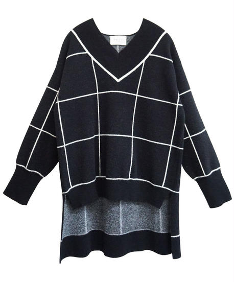 [19AW] WINDOWPANE CHECK KNIT PULLOVER