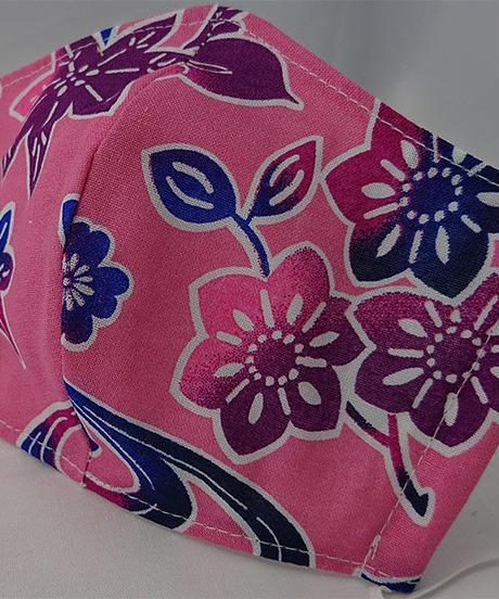 浴衣生地ガーゼマスク(桃色-桜と紅葉)