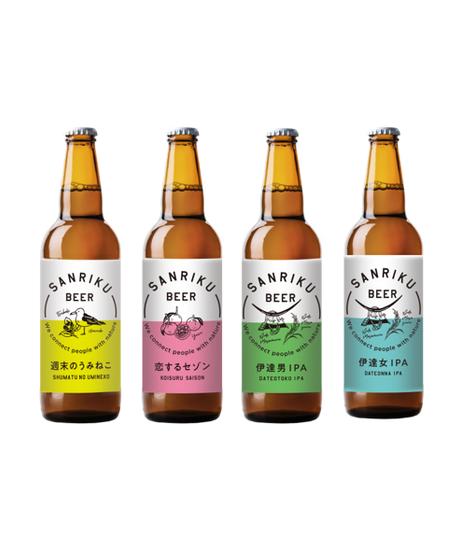 【家飲み応援】三陸ビール  (4種)+おつまみさばチップ(3種)+ビアグラスセット