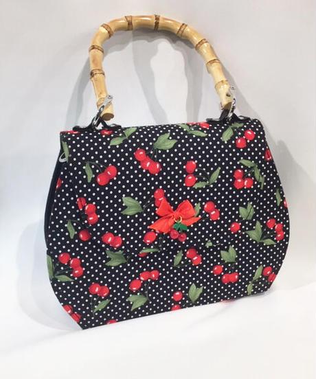 Jacira 50's retro Cherries Bamboo Handbag【5511】