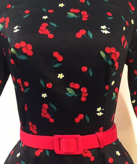 Suzanne Cherries & Blossom Swing Dress【AW180813B】