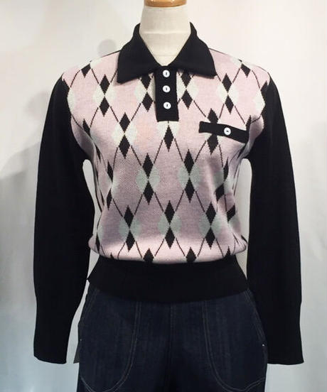 Argyle Pullover Knit(Ladies Free)【SVY-KN043】